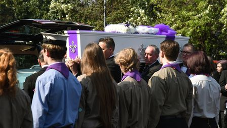 Family, friends and local Scout groups at the funeral of Jodie Chesney at the Ascension Church. Phot