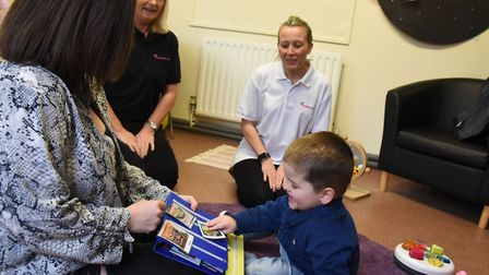 Emma Crampton and son Carter with Sycamore Trust staff Cheryl Kearney and Ann-Marie Lyons-Mummery. C