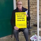 A resident campaigns against the markets coming to Redbridge. Photo: Chris Gannaway,
