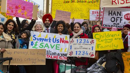 Protesters against cuts to children services outside Redbridge Town Hall. Photo by Ellie Hoskins.