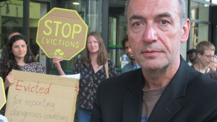 Renters' protest in 2014 to stop whistle-blower Michael James being evicted after 24 years for compl