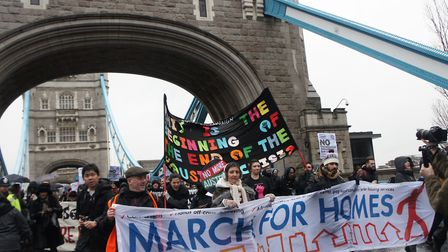 Renters cross Tower Bridge in protest march to City Hall in 2015 at launch of campaign against summa