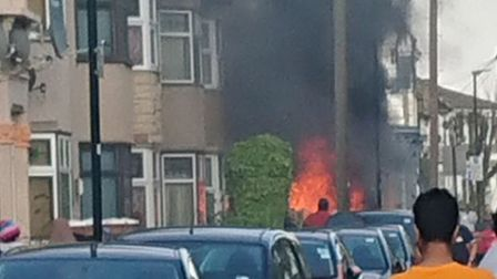 The car fire in Chesterton Road. Picture: @kieranjwalsh