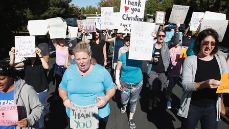 Supporters of Dr. Christine Blasey Ford march and chant. Photograph: Karl Mondon/Digital First Media