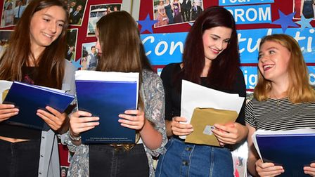 Pakefield High school students open their GCSE results. Picture: Nick Butcher
