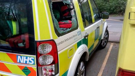 Theives broke into the LAS response car on Cody Road. Picture: London Ambulance Service.