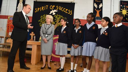 Faith Minister Lord Bourne at SS Peter & Paul's Primary School as part of his Belief in Communities: