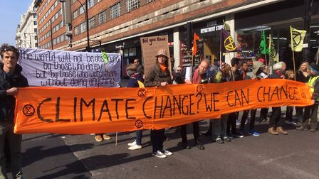 Wanstead Climate Action carried a huge orange banner through Oxford Street during this week's Extinc
