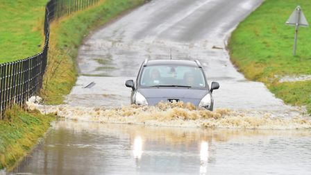 Heavy rain in the Halesworth area has caused flooding at Heveningham. PHOTO: Nick Butcher