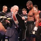 Daniel Dubois inspects his belt (pic Natalie Mayhew, Butterfly Boxing)