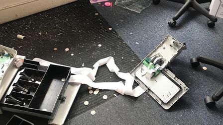 The burglar repeatedly dropped the shop's till to get access to the money inside. Picture: Debbie Da