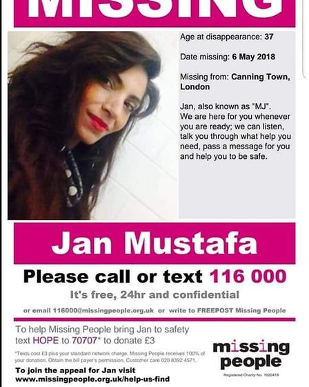 The missing poster for Mary Jane Mustafa. Picture: Missing People/Facebook