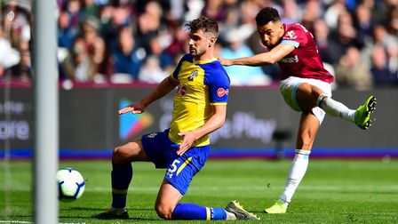 West Ham United's Ryan Fredericks scores his side's third goal of the game during the Premier League