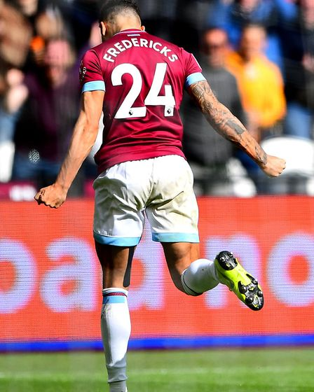 West Ham United's Ryan Fredericks celebrates scoring his side's third goal of the game during the Pr