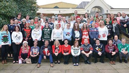 Staff at Potters take part in the Text Santa Christmas Jumper Day.