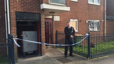 Police outside the block of flats in Vandome Close. Picture: Tom Pilgrim/PA Wire