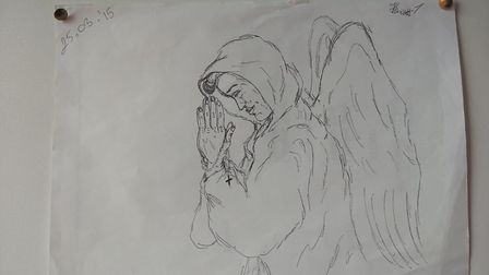 A drawing Henriett Szucs gave to Sonia Lynch, manager of rough sleeping charity the Welcome Centre,