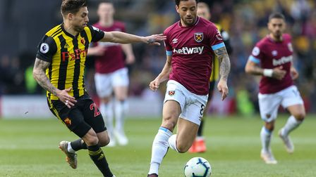West Ham United's Felipe Anderson and Watford's Kiko Femenia during the Premier League match at Vica