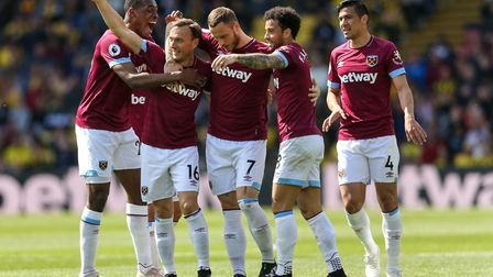 West Ham United's Mark Noble celebrates scoring their first goal his during the Premier League match