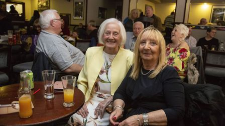 Iris Burrouths and Jean Watts enjoying the last day of the East Ham Working Men's club. Picture by E