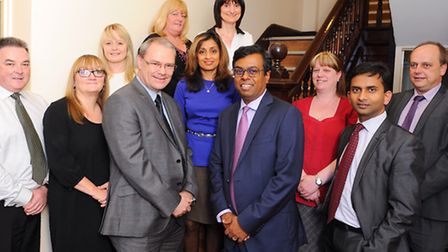Daya Thayan, CEO of Kingsley Healthcare with members of his team based in Lowestoft.Picture: James B
