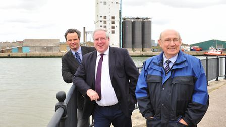 Transport secretary Patrick McLoughlin with Conservative candidate Peter Aldous and Colin Law lookin