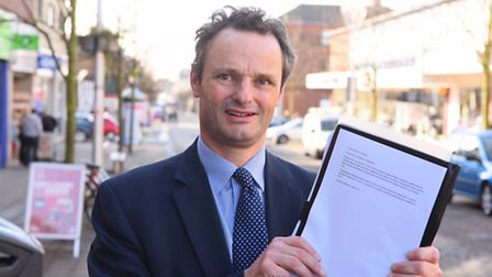MP Peter Aldous who is launching a petition to campiagn for a third river crossing in Lowestoft.Pict