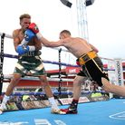Action from the fight between Harley Benn and Lee Hallett at the King Of Herts show in Stevenage. Pi