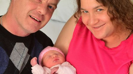 New Years Day baby Suranne with her parents Ursula and Kevin Tame at the James Paget University Hosp