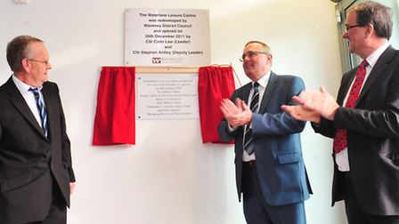 Re-launch of the Water Lane Leisure Centre in Lowestoft. Stephen Ardley unveils the plaque with And