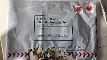 The package sent to Compass Centre, near Heathrow Airport. Picture: Met Police