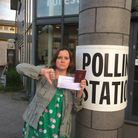 Else Kvist outside the polling station after she was not allowed to vote in the EU election. Picture