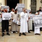 Anjem Choudary (centre) with fellow demonstrators outside the Syrian Embassy, London, protesting abo