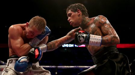 Conor Benn in action against Josef Zahradnik in their welterweight contest at the O2 Arena