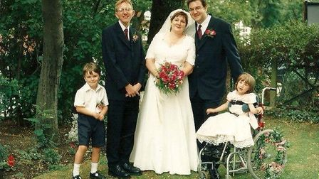 Keith Collins with his sister-in-law Nicola Collins and brother Trevor Collins on their wedding day