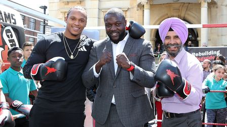 Boxer Anthony Yarde, Box Up founder Stephen Addison MBE and Leader of the Council Cllr Jas Athwal. P
