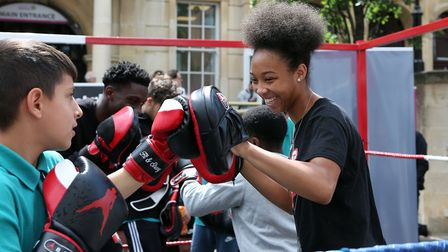 Box Up members demonstrate their skills in the ring in Ilford High Road. Picture: Melissa Page