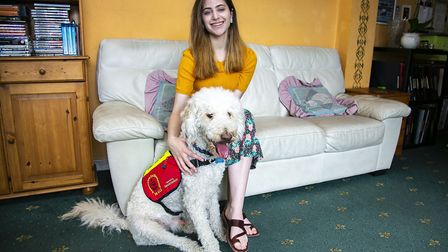 Talya Hambling has medical issues and has been to classes to train her dog, Coby, to be an assistanc