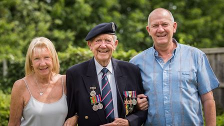 Ron with daughter Lorraine and son David. Picture: Ben Lister