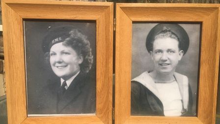Wilson, left, and a picture of his beloved late wife Eileen. Picture: Wilson family