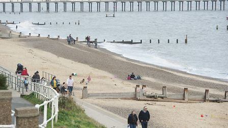 Southwold beach on another warm sunny day in October.