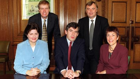 Chancellor Gordon Brown flanked by his treasury team, financial secretary Stephen Timms, chief secre