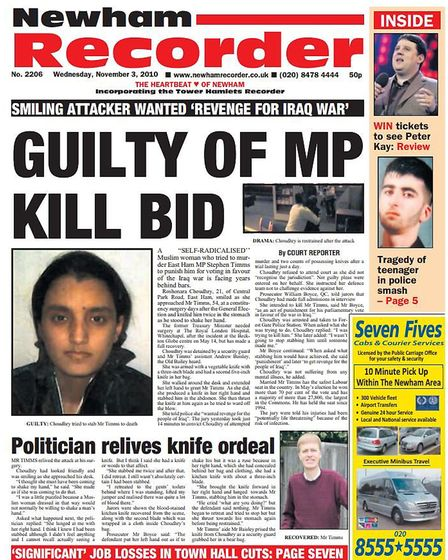 Newham Recorder coverage at the time. Picture: Archant