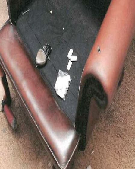 The drugs were found underneath the seating cushion of a chair. Pictures: Suffolk Police