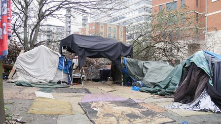 A homeless camp in Ilford Hill. Picture: Aaron Walawalkar