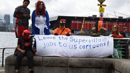 Protestors and police at the ExCel Centre ahead of the arms fair in 2017. Pic: Ken Mears