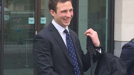 Former Pc Joshua Savage leaving Westminster Magistrates Court during the criminal case. Picture: Rya