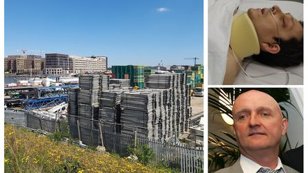 Left: The Corbyn Construction facility in Albert Island. Right: Christophe Stanic after spinal surge