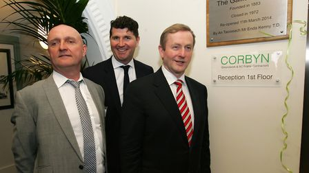 Left: Corbyn Construction director Michael Cusack at the re-opening of Gallions Hotel with Irish Pri