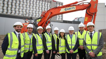 Keith Whitmore, of Unibail-Rodamco-Westfield, third from right with guests during the breaking groun